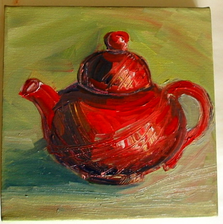 My Flowerdale tea pot. Oil painting by Flora Doehler c2006