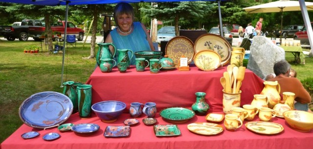 Pat Woods, Red-handed pottery at the Bear River waterfront.