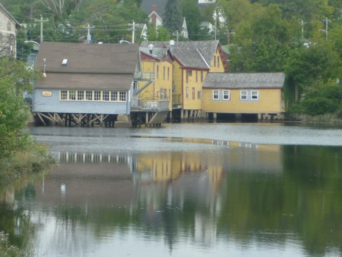 The iconic buildings on stilts in Bear River.