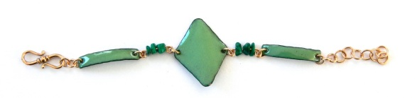 Enamel bracelet with bronze and copper. © Larry Knox. $80