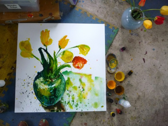 The beginning of the first round of painting my own blooms 2015.